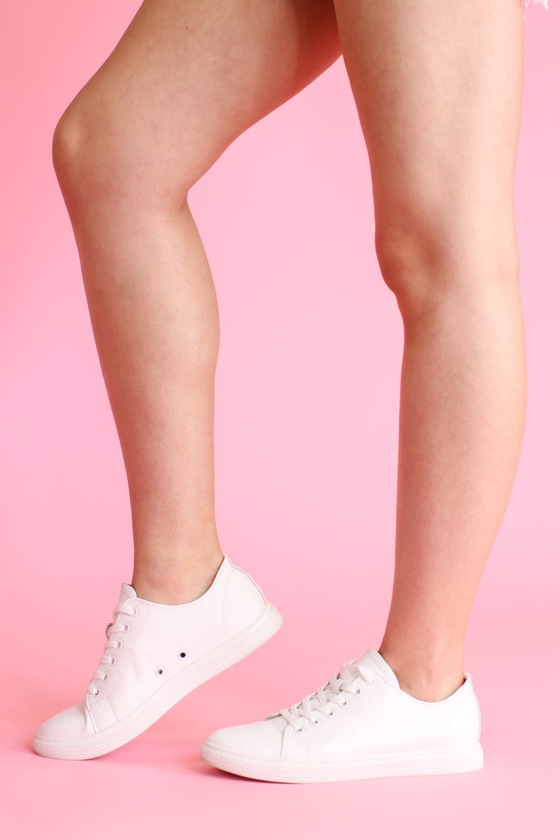 5 / White Stroll With It Leather Sneakers - Madison and Mallory