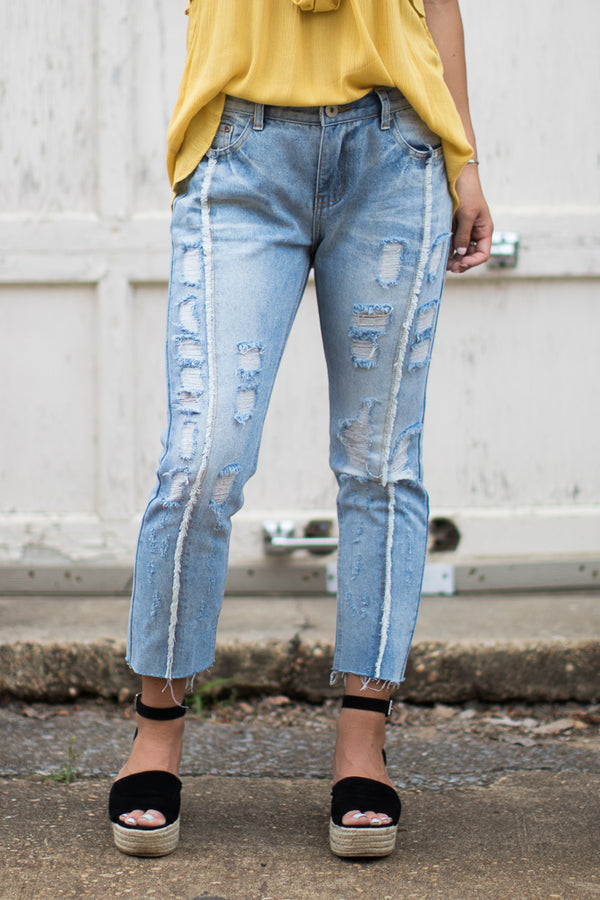 S / Denim Logan Distressed Jeans - FINAL SALE - Madison and Mallory