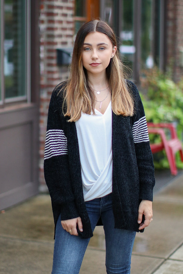 Banks Chenille Striped Accent Cardigan - Black - Madison + Mallory