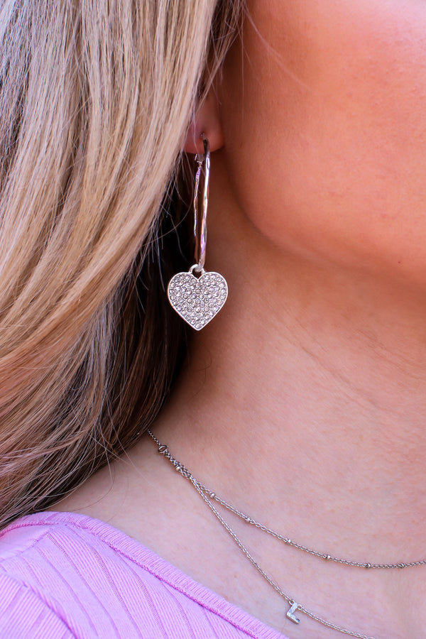Silver Covered in Love Crystal Heart Hoop Earrings - Madison and Mallory