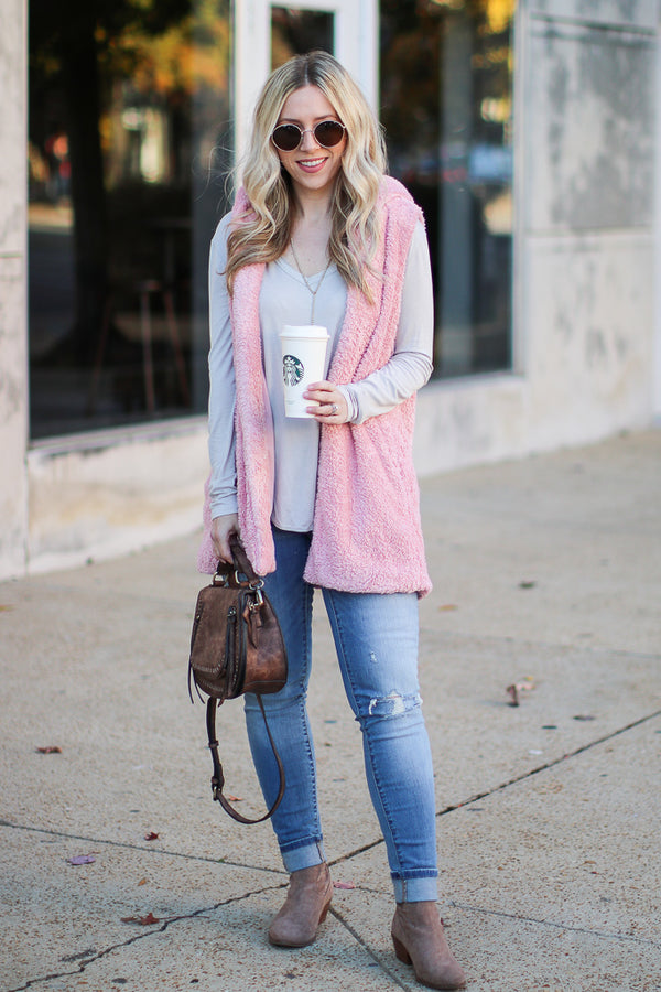Janina Faux Fur Vest - Dusty Pink - Madison + Mallory