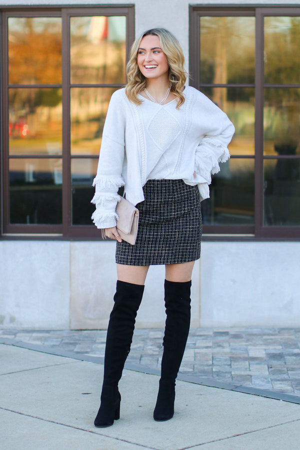 Sydney Tweed Skirt - Black - Madison and Mallory