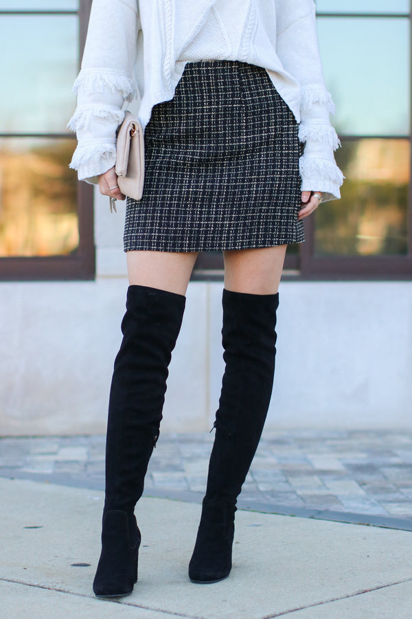 Black / S Sydney Tweed Skirt - Black - Madison and Mallory
