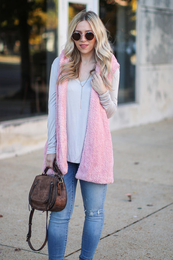Dusty Pink / S Janina Faux Fur Vest - Dusty Pink - Madison + Mallory