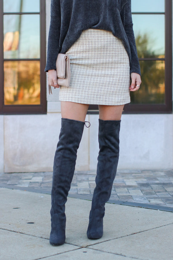 Ivory / S Sydney Tweed Skirt - Ivory - Madison and Mallory
