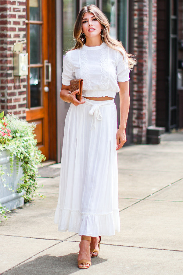 Like a Dream Embroidered Ruffle Skirt - Madison + Mallory