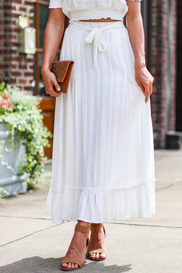 S / White Like a Dream Embroidered Ruffle Skirt - Madison + Mallory
