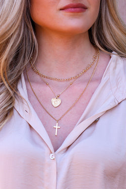 Gold Scenic Tour Heart and Cross Layered Necklace - Madison and Mallory