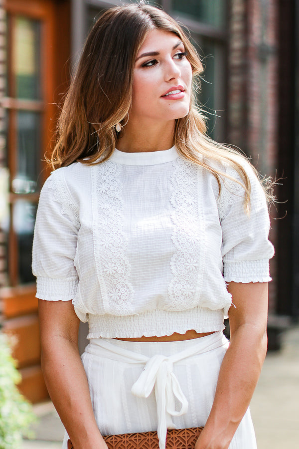 S / White Keep Dreaming Lace Puff Sleeve Top - FINAL SALE - Madison + Mallory