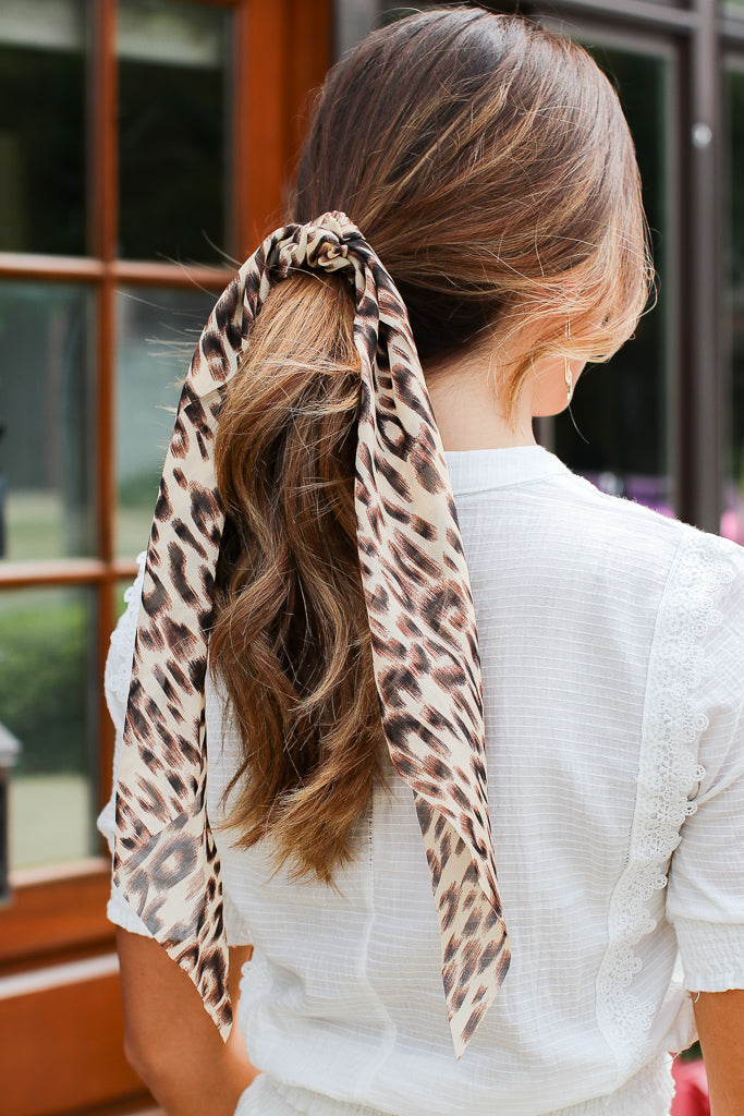 Carden Leopard Chiffon Long Scrunchie - Madison + Mallory
