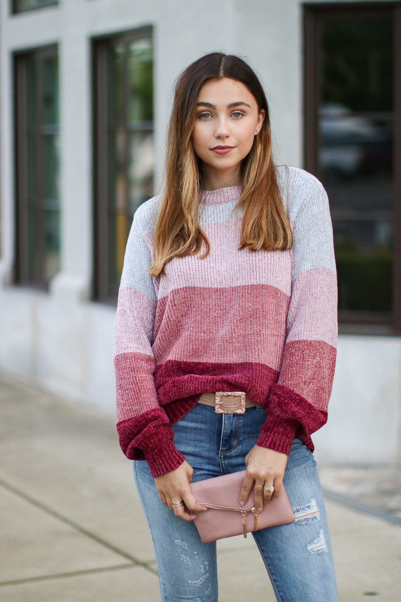 High Line Color Block Chenille Sweater by Madison + Mallory