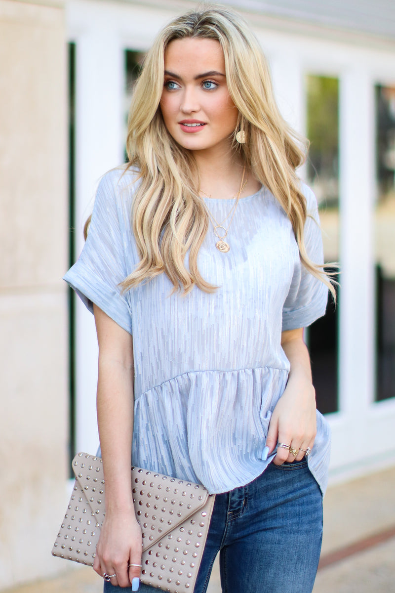 S / Dusty Blue Luminosity Flowy Ruffle Top - FINAL SALE - Madison and Mallory