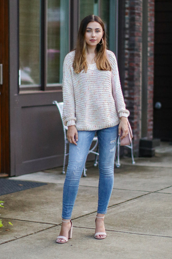 Happier Multi Color Knit Sweater - Madison + Mallory