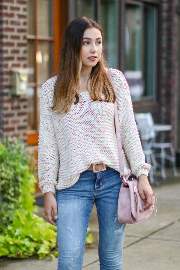 S / Natural Happier Multi Color Knit Sweater - Madison + Mallory