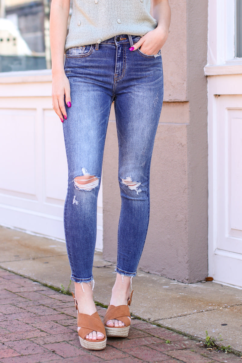 0/24 / Medium Farren High Rise Distressed Ankle Skinny Jeans - Madison and Mallory