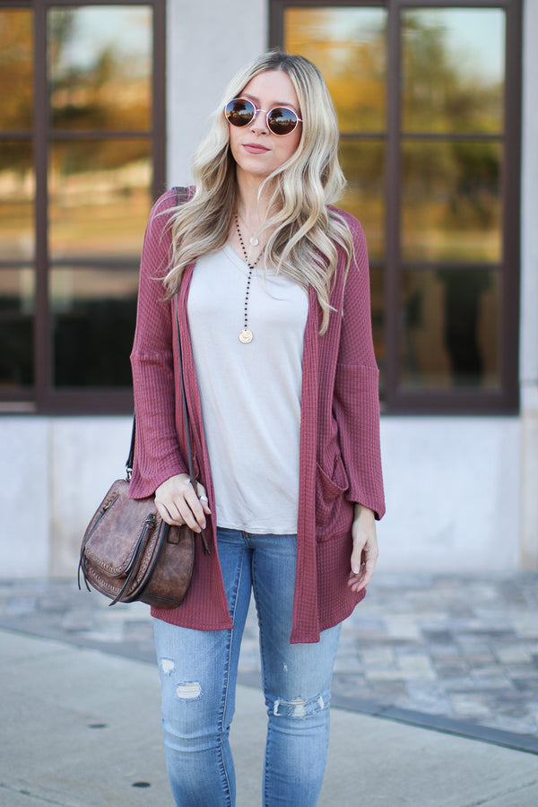 Red Bean / S Benson Waffle Knit Cardigan - Red Bean | CURVE - Madison + Mallory