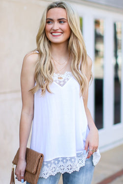 White / S Sweet Admiration Lace Tank - Madison and Mallory