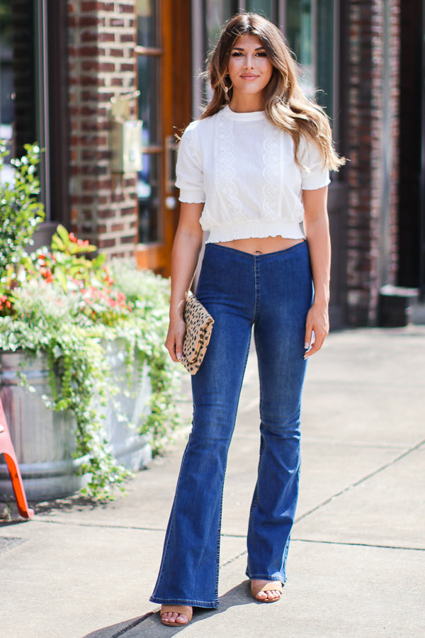 Young Hearts Pull-On Flare Jeans - FINAL SALE - Madison + Mallory