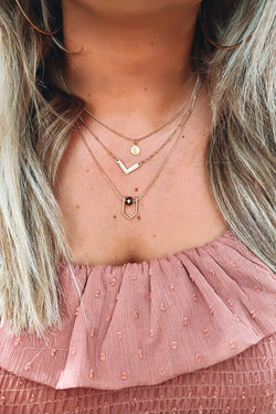 Gold Breaking Dawn Triangle Disc Layered Necklace - Madison and Mallory