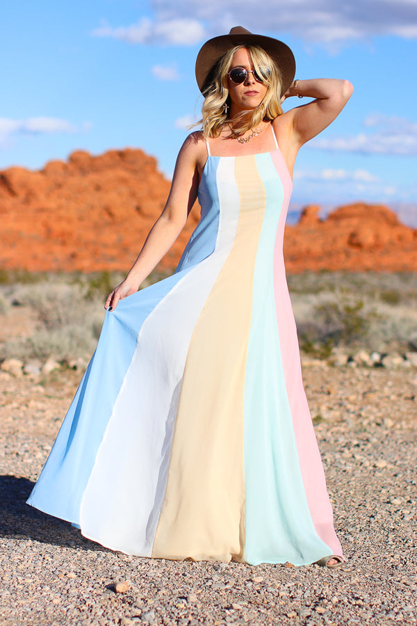 Rainbow Road Pastel Maxi Dress