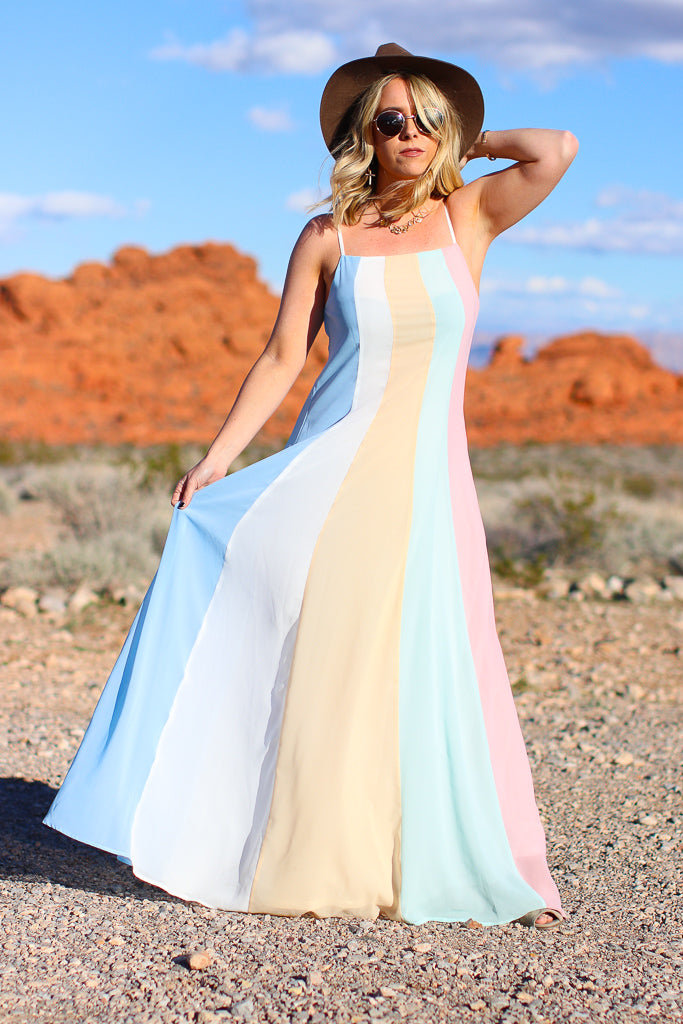 S / Pink Rainbow Road Pastel Maxi Dress - Madison + Mallory