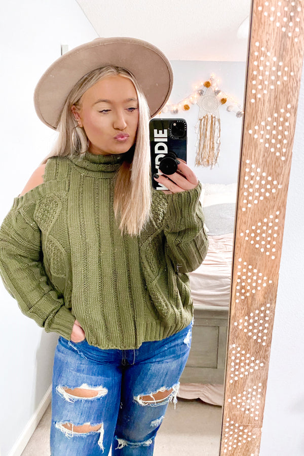 Olive / SM Laryssa Cold Shoulder Cable Knit Sweater - Madison and Mallory