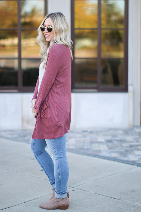 Benson Waffle Knit Cardigan - Red Bean | CURVE - Madison + Mallory