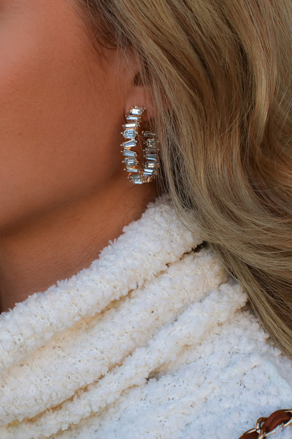 Clear True Destiny Crystal Gem Hoop Earrings - Madison and Mallory
