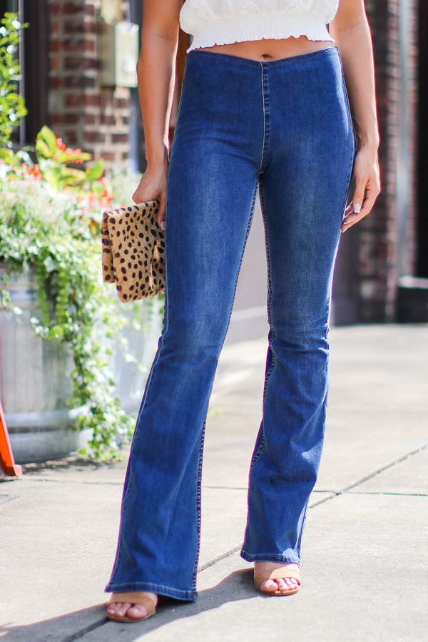 S / Denim Young Hearts Pull-On Flare Jeans - FINAL SALE - Madison + Mallory