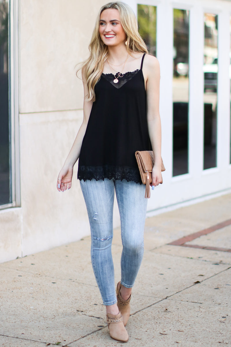 Black / S Sweet Admiration Lace Tank - Madison and Mallory
