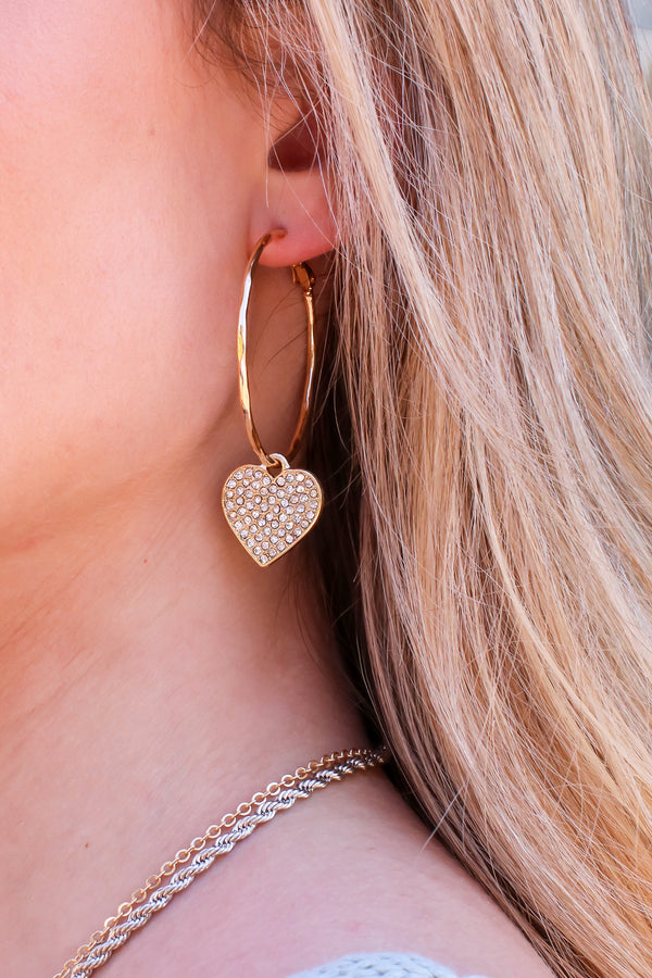Gold Covered in Love Crystal Heart Hoop Earrings - Madison and Mallory