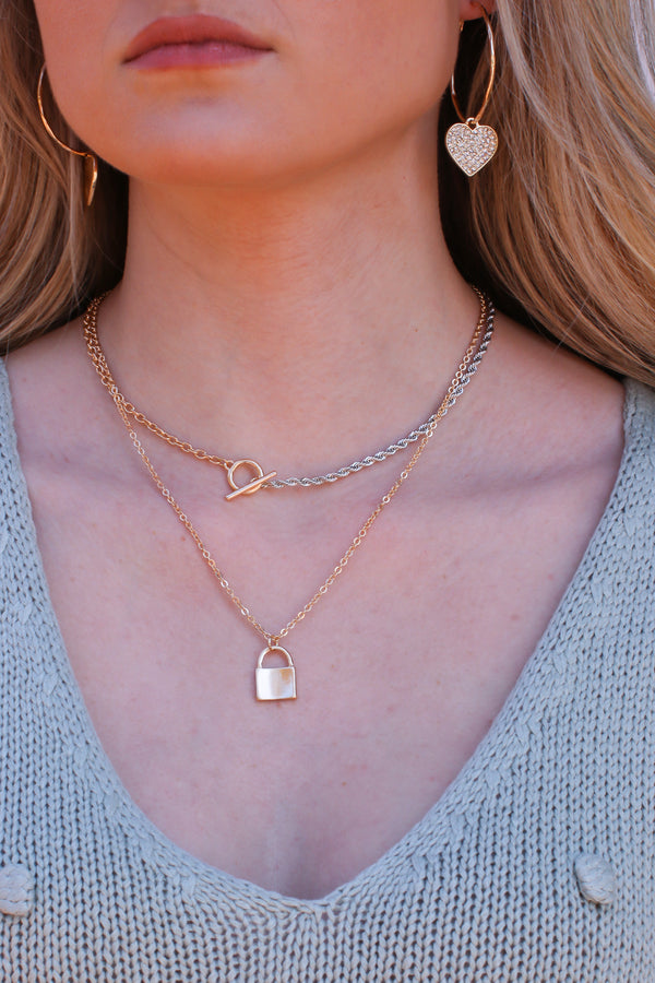Gold Highly Ambitious Mixed Metal Lock Necklace - Madison and Mallory