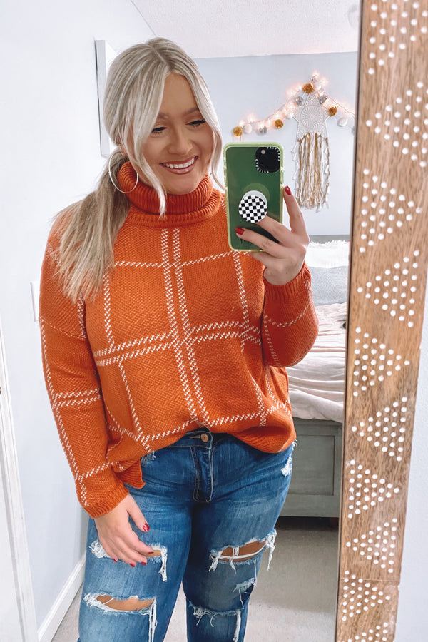 SM / Orange Market Plaid Turtleneck Sweater - Madison and Mallory
