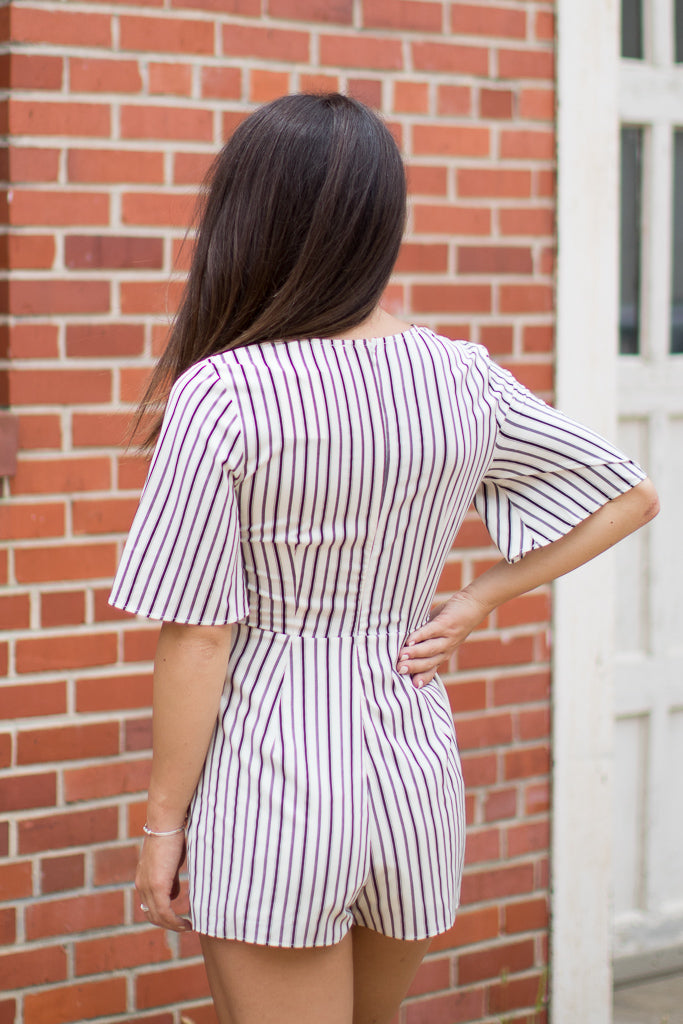 Lace Up Striped Romper - Madison + Mallory