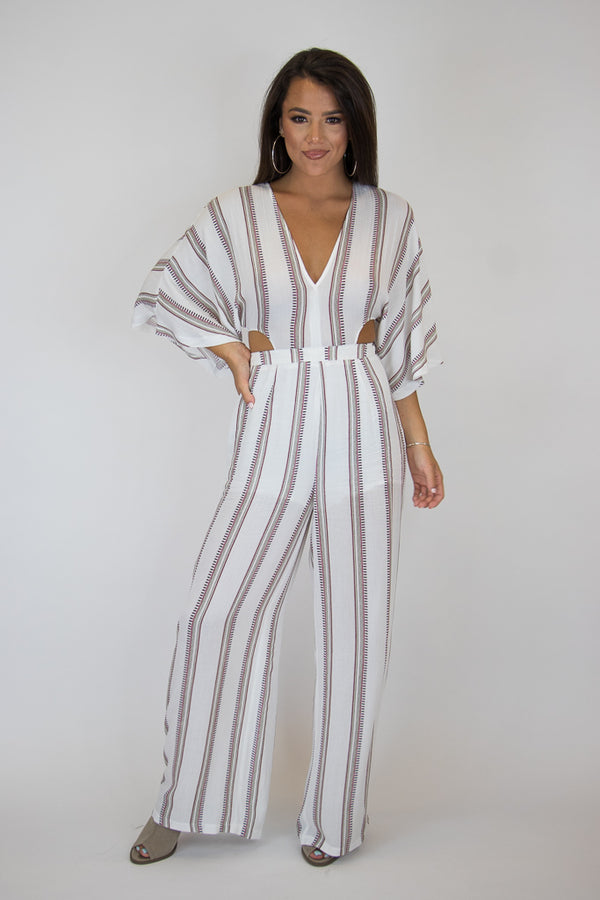 S / Red Multi Cutout Stripe Jumpsuit - Madison + Mallory