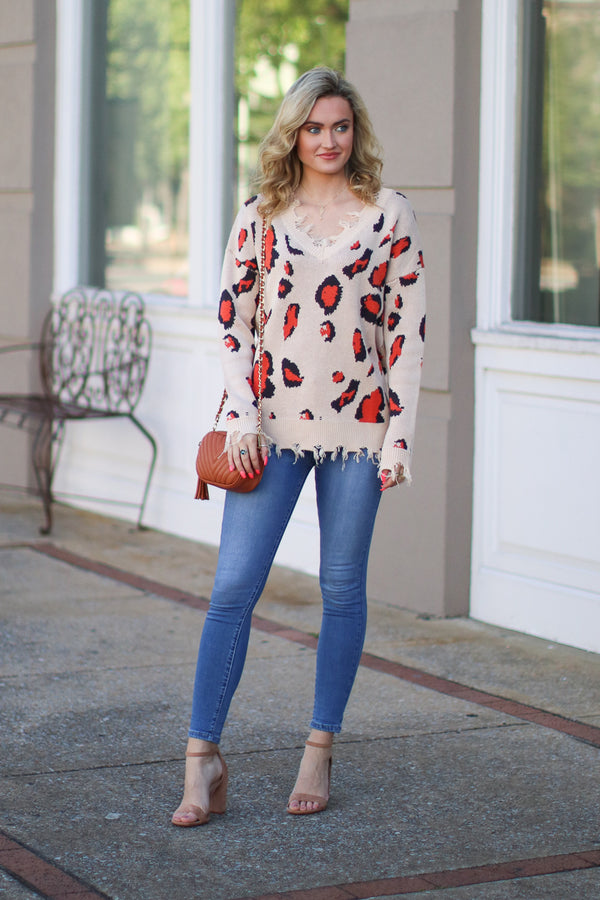 See it Happen Leopard Frayed Edge Sweater - Taupe - Madison + Mallory