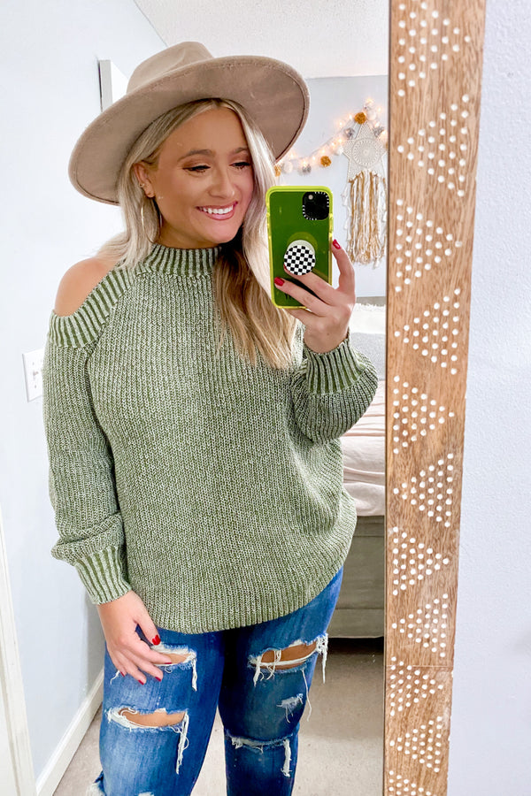 SM / Olive High Road Open Shoulder Mock Neck Sweater - Madison and Mallory