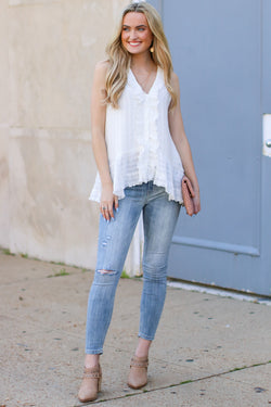 S / White Maylin Textured Ruffle Top - FINAL SALE - Madison and Mallory