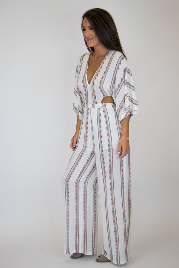 Cutout Stripe Jumpsuit - Madison + Mallory