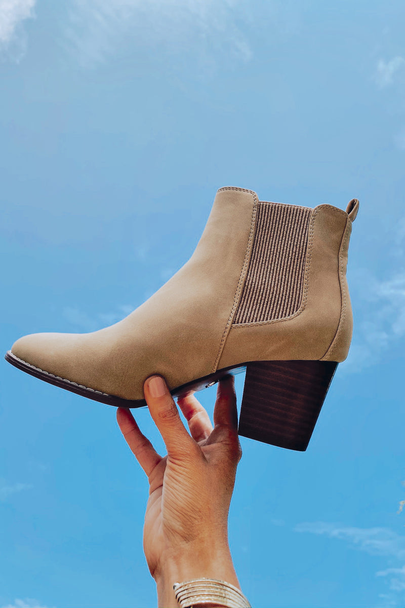 5.5 / Taupe Haines Faux Leather Heeled Booties - Madison and Mallory