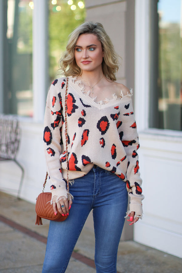 Taupe / SM See it Happen Leopard Frayed Edge Sweater - Taupe - Madison + Mallory