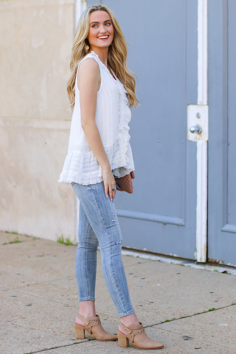 Maylin Textured Ruffle Top - Madison and Mallory
