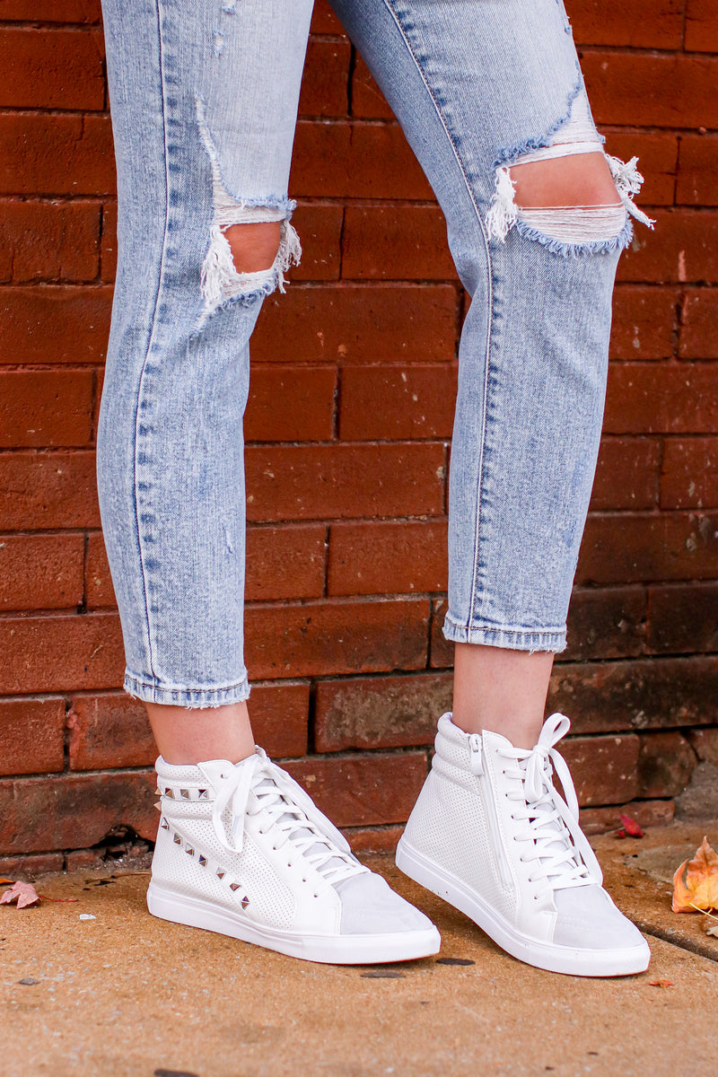 Lex Studded High Top Wedge Sneakers - Madison and Mallory