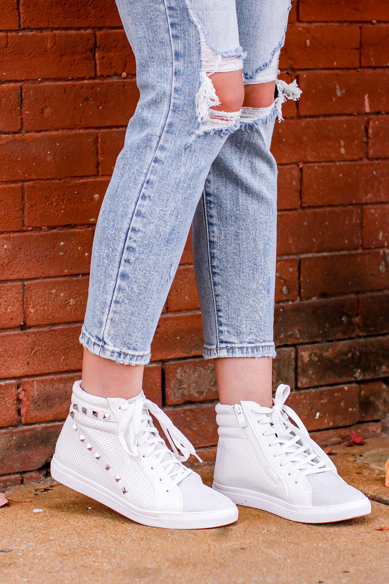 White / 5 Lex Studded High Top Wedge Sneakers - Madison and Mallory