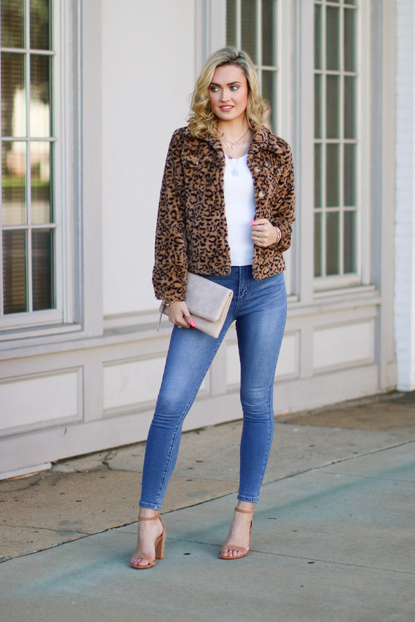 Take Your Chance Leopard Faux Fur Jacket - FINAL SALE - Madison + Mallory