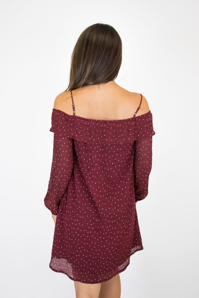 Cold Shoulder Polka Dot Dress - Madison + Mallory