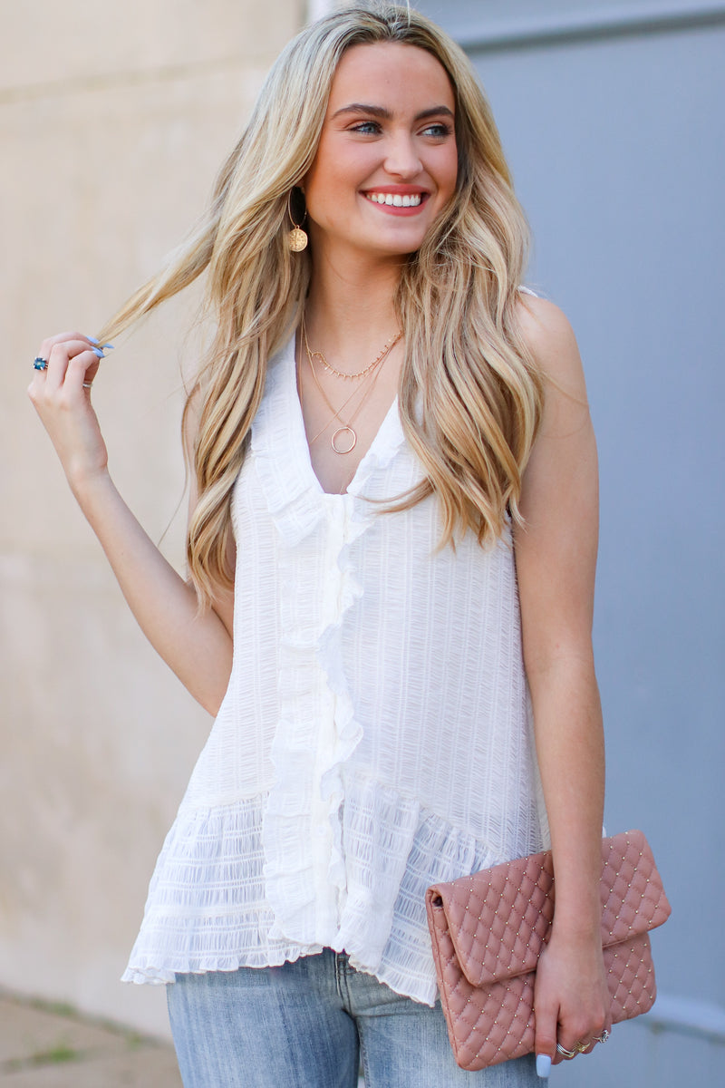 Maylin Textured Ruffle Top - FINAL SALE - Madison and Mallory