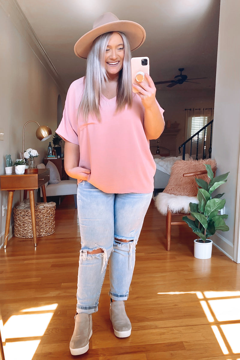Markiee V-Neck Top - Mauve - Madison and Mallory