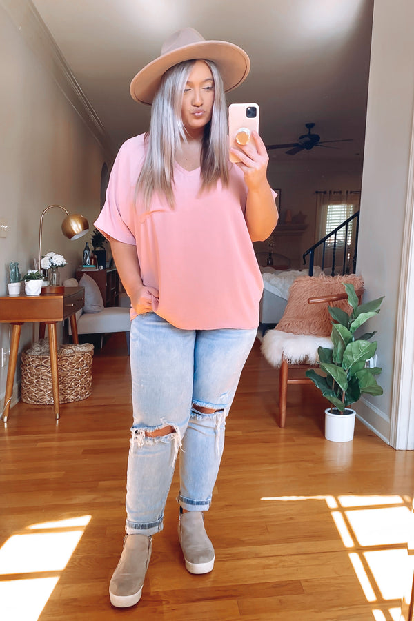 Markiee V-Neck Top - Mauve - FINAL SALE - Madison and Mallory