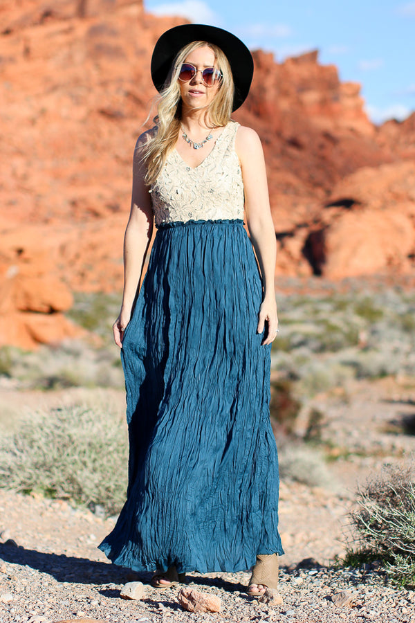S / Blue Effortlessly Ethereal Maxi Dress - Madison + Mallory
